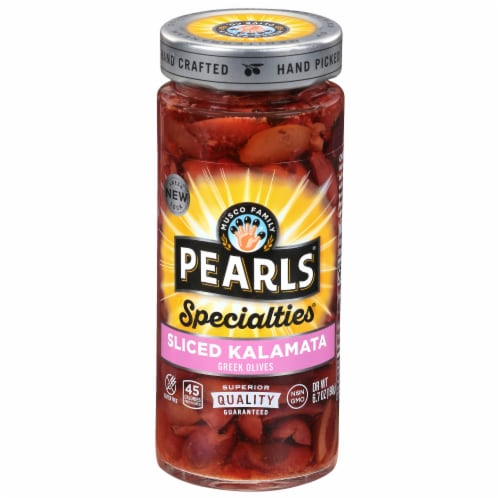Pearls Specialties Sliced Kalamata Greek Olives Perspective: front