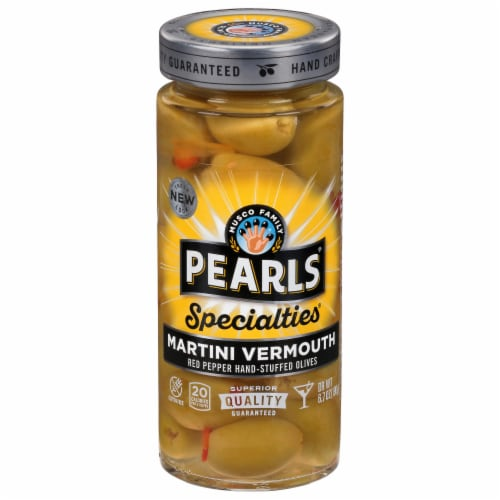 Pearls Specialties Martini Vermouth Red Pepper Stuffed Olives Perspective: front