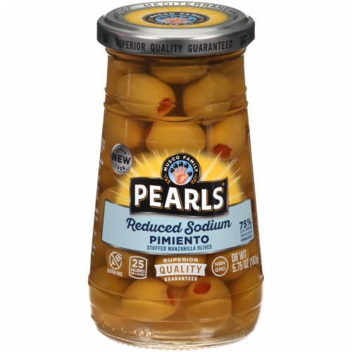 Pearls Reduced Salt Pimento Stuffed Olives Perspective: front