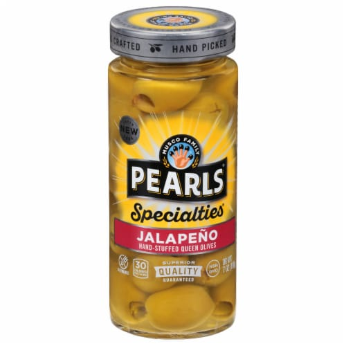 Pearls Specialties Jalapeno Stuffed Green Olives Perspective: front