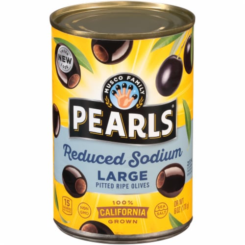 Pearls Reduced Sodium Large Pitted California Ripe Olives Perspective: front