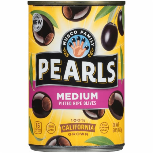 Pearls Medium PittedCalifornia Ripe Olives Perspective: front