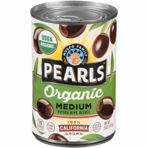Pearls Organic Medium Pitted Ripe Olives Perspective: front