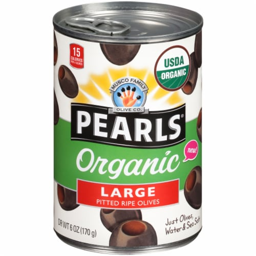 Pearls Organic Large Pitted Ripe Olives Perspective: front