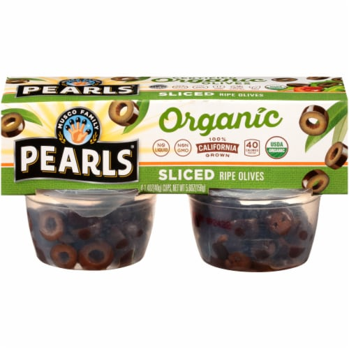 Pearls Organic Sliced Ripe Olive Cups 4 Count Perspective: front