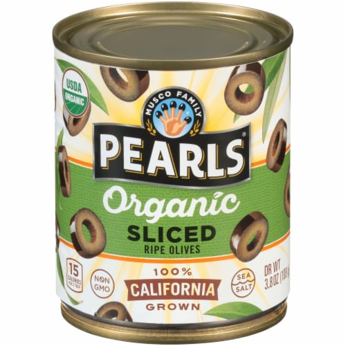 Pearls Organic Sliced Ripe Black Olives Perspective: front