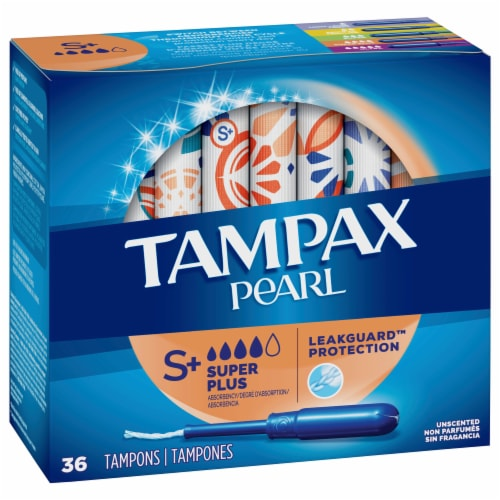 Tampax Pearl LeakGuard Protection Super Plus Absorbency Unscented Tampons Perspective: front