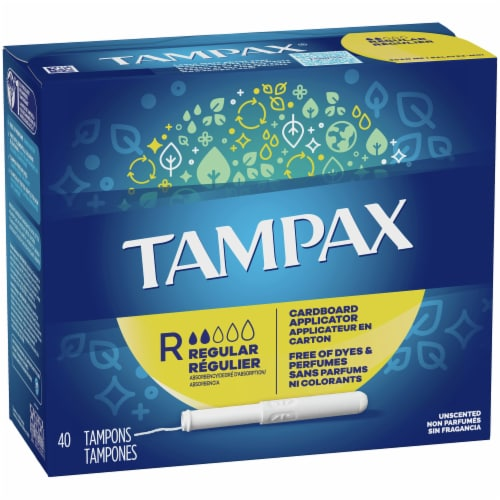 Tampax Regular Cardboard Applicator Tampons Perspective: front