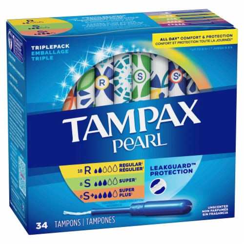 Tampax Pearl LeakGuard Unscented Tampons Triple Pack Perspective: front