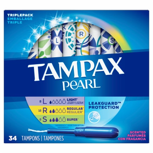 Tampax Pearl LeakGuard Scented Tampons Triple Pack Perspective: front