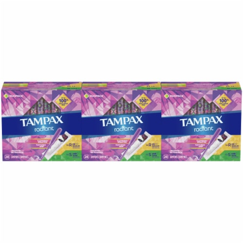 Tampax Radiant Variety Absorbency Tampons Duopack Perspective: front