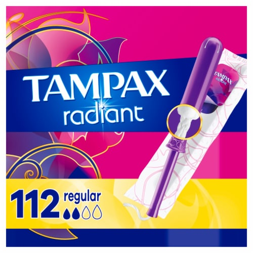 Tampax Radiant Plastic Regular Absorbency Tampons Perspective: front