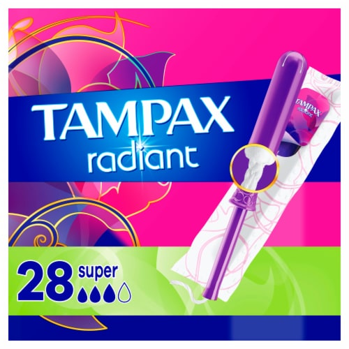 Tampax Radiant Super Absorbency Unscented Tampons Perspective: front