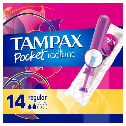Tampax Pocket Radiant Regular Unscented Compact Tampons Perspective: front