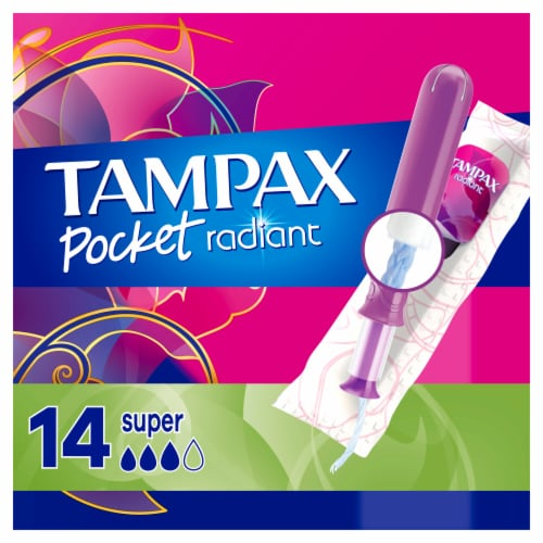 Tampax Pocket Radiant Super Absorbency Unscented Tampons Perspective: front