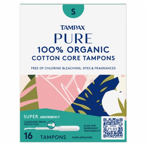 Tampax Pure Organic Cotton Core Super Absorbency Tampons Perspective: front