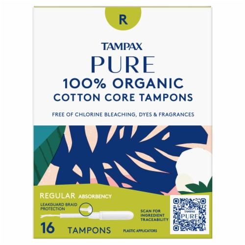 Tampax Pure Organic Cotton Core Regular Absorbency Tampons Perspective: front