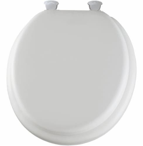 Mayfair Round Cushioned Vinyl Toilet Seat - White - 16.5 Inch Perspective: front