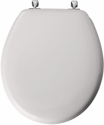 Mayfair Round Molded Wood Toilet Seat with Chrome Hinges and STA-TITE Seat 14.37 x 2.06 x 16.56 In Perspective: front