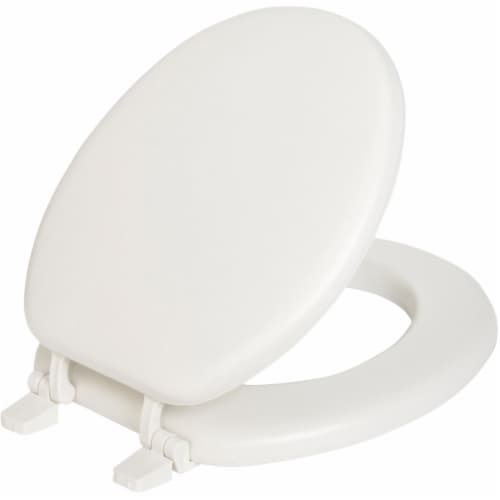 Mayfair Round White Vinyl Cushioned Toilet Seat - Case Of: 1; Perspective: front
