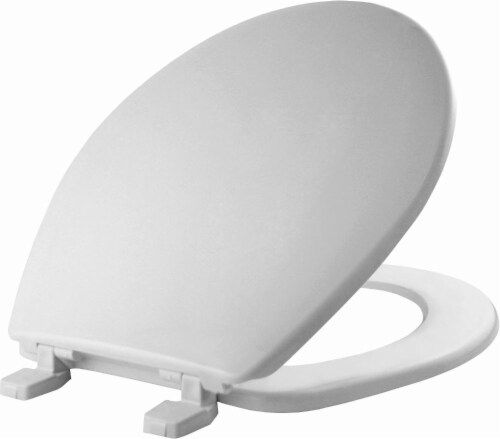Mayfair Round White Plastic Toilet Seat Perspective: front