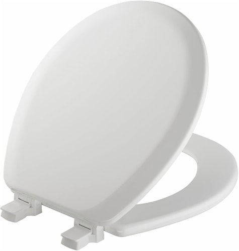 Mayfair Round Molded Wood Toilet Seat - White Perspective: front