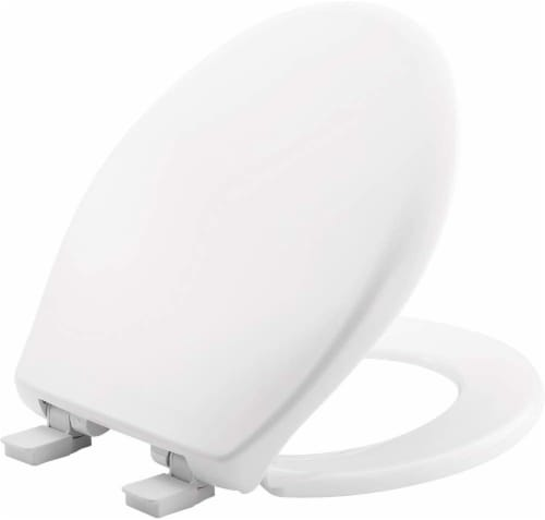 Mayfair White Round Plastic Toilet Seat Perspective: front