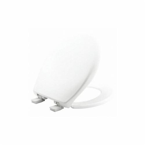 Bemis Toilet Seat,Round Bowl,White,14-3/8  W Perspective: front