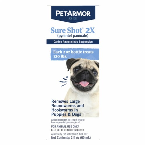 PetArmor Sure Shot 2X Liquid Wormer for Puppies & Dogs Perspective: front