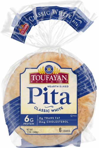 Toufayan Classic White Pita Loaves 6 Count Perspective: front