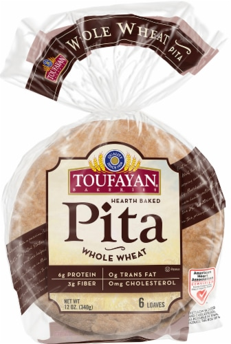 Toufayan Whole Wheat Pita Loaves 6 Count Perspective: front