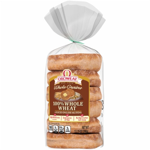 Oroweat 100% Whole Wheat English Muffins 6 Count Perspective: front