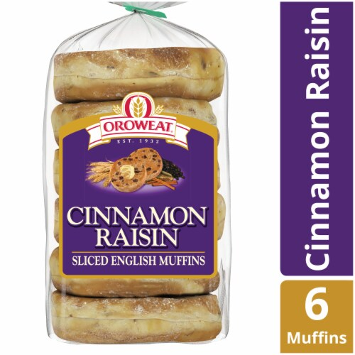 Oroweat Cinnamon Raisin Sliced English Muffins 6 Count Perspective: front