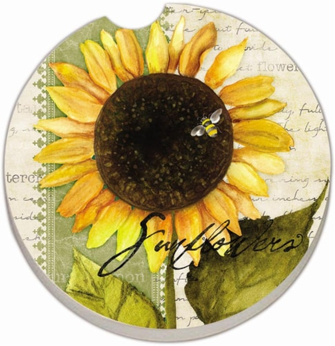 Counter Art Sunflowers in Bloom Car Coaster - Yellow Perspective: front