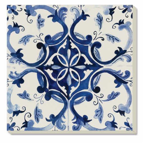 Conimar Tile Coasters - Blue/White Perspective: front