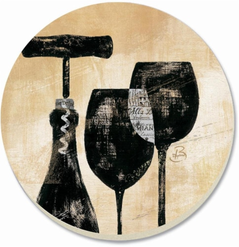 Counter Art Wine Shadows Coaster - 4 Pack - Black/Tan Perspective: front
