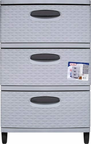 Sterilit Weave 3 Drawer Unit - Cement/Gray Perspective: front