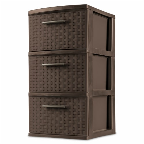 Sterilite 3 Drawer Weave Tower - Espresso Perspective: front