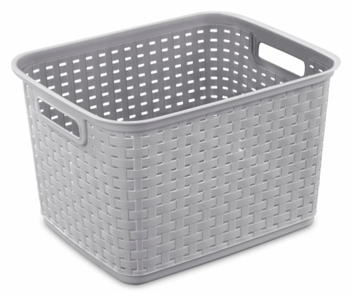 Sterilite Tall Weave Basket - Cement Perspective: front