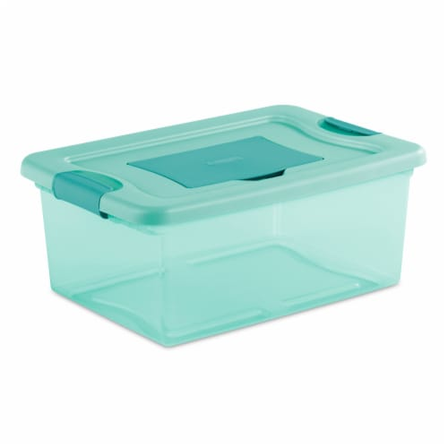 Sterilite Fresh Scent Storage Box - Aqua Perspective: front