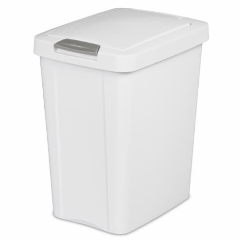 Sterilite 10438004 28 Ltr. Touch Top Wastebasket Can White Perspective: front