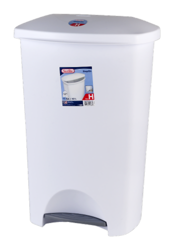 Sterilite Step-on Wastebasket - White Perspective: front