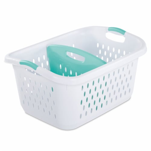 Sterilite Bushel Divided Laundry Basket with Divider - White/Aqua Chrome Perspective: front