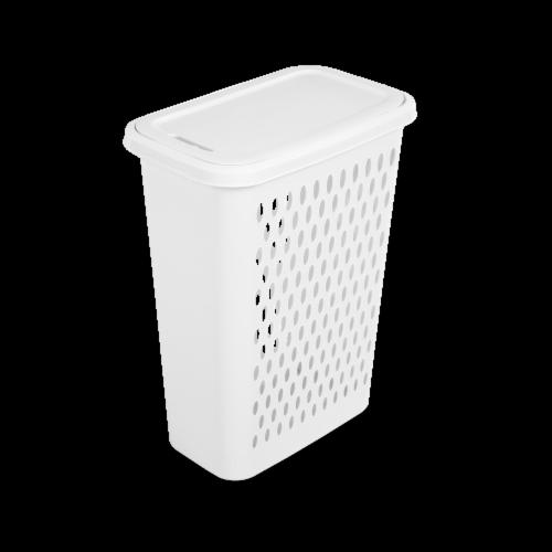 Sterilite Slim Laundry Hamper - White Perspective: front