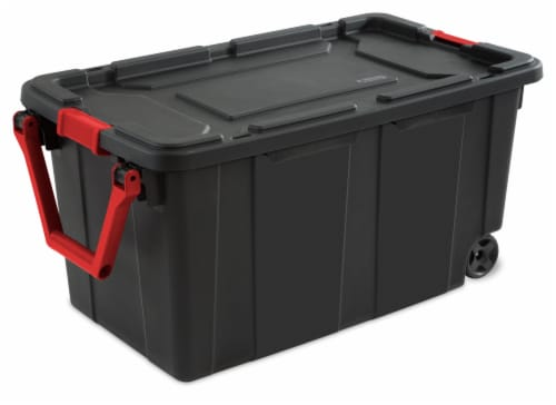 Sterilite Wheeled Industrial Tote - Black Perspective: front