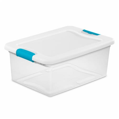 Sterilite Latching Storage Box - Clear/White Perspective: front