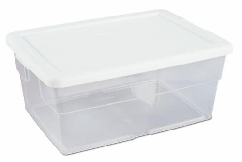 Sterilite Storage Box with Lid - White/Clear Perspective: front