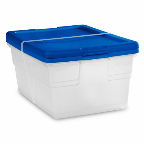 Sterilite Storage Boxes - Blue/Clear Perspective: front