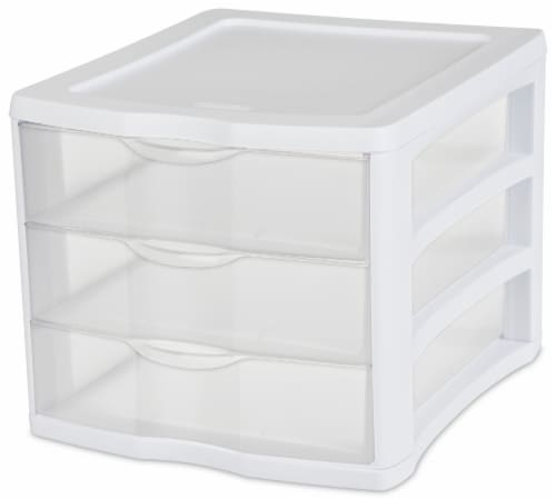 Sterilite ClearView 3-Drawer Countertop Unit - White/Clear Perspective: front