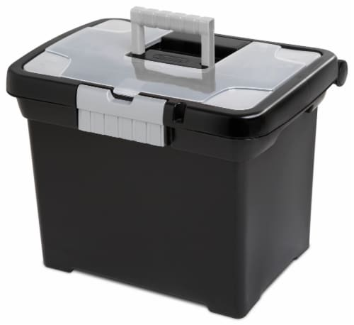 Sterilite Portable File Box - Black Perspective: front